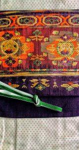 紬 茶色の織りの帯