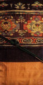 紬 茶色の織りの帯2