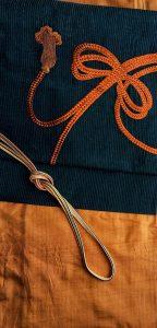 紬 組紐紋の帯