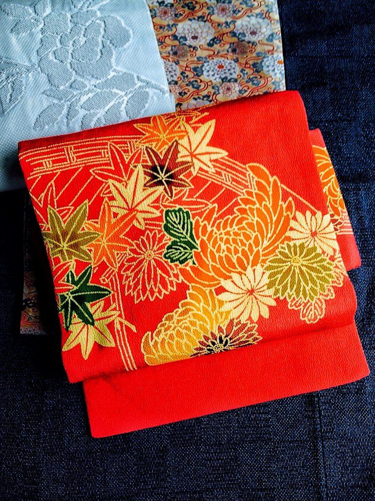 紺紬 帯3枚 no.2