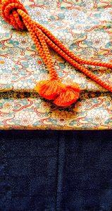 紺紬 古典柄帯